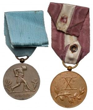 Medal X-lecia Odzyskanej Niepodległości i Medal za Długoletnią Służbę - X (2szt)