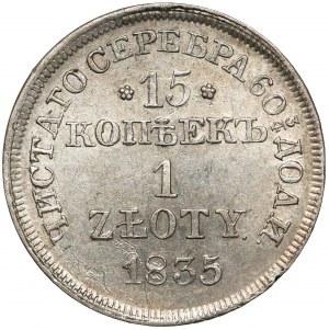 15 kopiejek = 1 złoty 1835 MW, Warszawa - B.ŁADNA