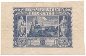 20 złotych 1936 - nieukończony druk