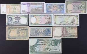 Azja, zestaw banknotów MIX (11szt)
