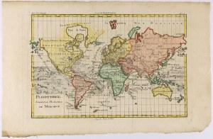 Mapa Świata - połowa XVIII wieku