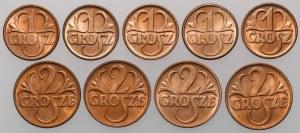 1 i 2 grosze 1937 - mennicze - zestaw (9szt)