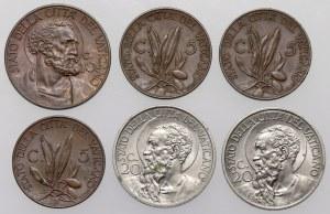 Papal States, Pius XI, from 5 to 20 centesimo 1930-1934, lot (6pcs)