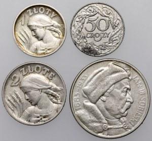 50 groszy - 10 złotych 1925-1938 Sobieski, Żniwiarka, zestaw (4szt)