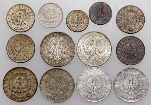 Srebrne monety II RP, w tym rzadsze (13szt)