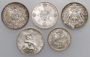 Deutschland, von 2 bis 3 Mark 1909-1914 und Taler 1861 - lot (5pcs)