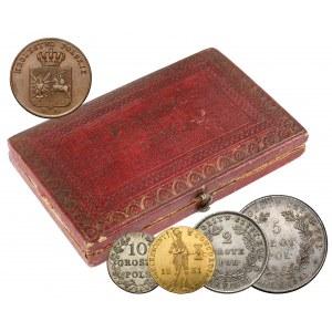 Powstanie Listopadowe, KOMPLET pudełko Pamiątka i monety 1831
