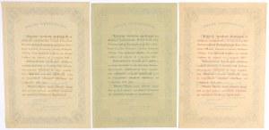 5% Poż. Konwersyjna 1924, KOMPLET Świadectw Ułamkowych (3szt)