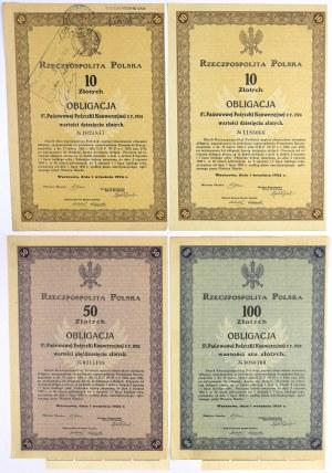 5% Poż. Konwersyjna 1924, KOMPLET Obligacji 2x 10, 50 i 100 zł (4szt)