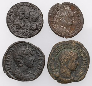 Cesarstwo rzymskie - zestaw brązów - Septymiusz Sewer, Aleksander Sewer, Julia Mamaea i Dioklecjan (4szt)