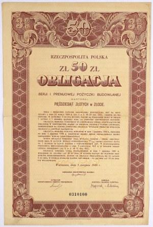 3% Premiowa Poż. Budowlana 1930, Obligacja na 50 zł