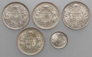 India - British, 1 rupee do 1/4 rupee 1941-1945 (5pcs)