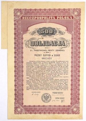 3% Państwowa Renta Ziemska 1933, Obligacja na 500 zł