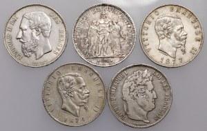 Italien, Frankreich und Belgien, 5 Lire 1874-1877, 5 Franken 1834-1875 - lot (5pcs)