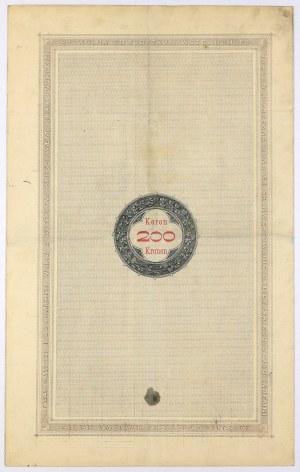 Lwów, Poż. Królestwa Galicyi... 1893 r. Obligacja na 200 koron