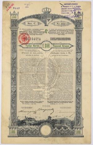Lwów, Poż. Królestwa Galicyi... 1893 r. Obligacja na 1.000 koron