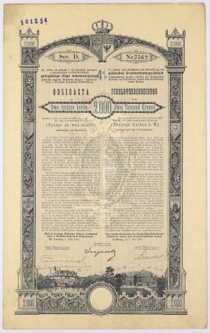 Lwów, Poż. Królestwa Galicyi... 1893 r. Obligacja na 2.000 koron
