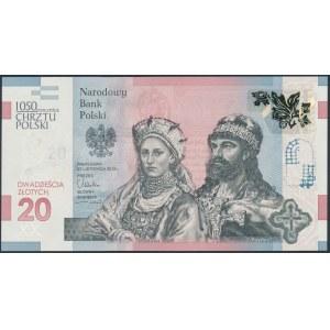 20 złotych 2015 - Chrzest Polski - w folderze z broszurą