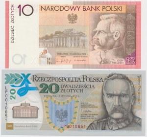 10 zł 2008 - Piłsudski i 20 zł 2014 - 100. rocznica utworzenia Legionów (2szt)