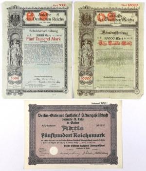 Papiery wartościowe - Niemcy XIX w. i akcja z Gubina 1928 (3szt)