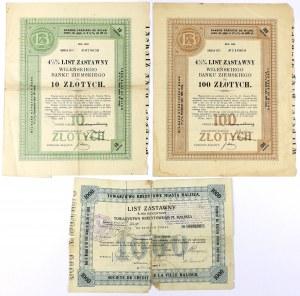 Listy zastawne, Wileński Bank Ziemski i Kalisz (3szt)