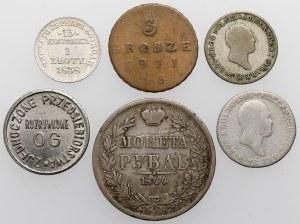 Zabory, od trojaka po rubla 1811-1844 + żeton (6szt)