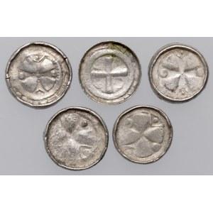 Denary krzyżowe (5szt) CNP VI i VII - krzyż prosty i z pastorałem - w tym RZADKI