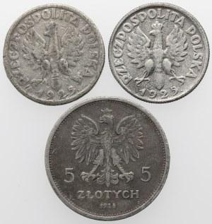 2 złote 1925 Żniwiarka i 5 złotych 1928 Nike - FALSYFIKATY z epoki (3szt)