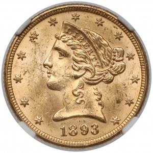 USA, 5 dollars 1893