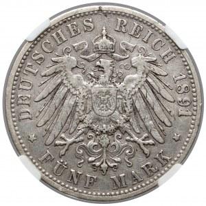 Baden, 5 mark 1891-G - Rare
