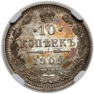 Rosja, Mikołaj II, 10 kopiejek 1909 ЭБ, Petersburg