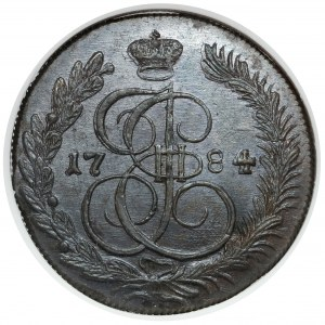 Rosja, Katarzyna II, 5 kopiejek 1784 KM, Suzun