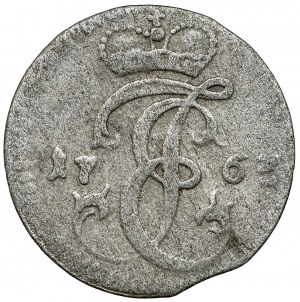 Kurlandia, Ernest Jan Biron, Grosz Mitawa 1763 - monogram