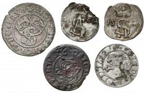 MIX Zygmunt I Stary - Jan II Kazimierz, zestaw monet 1529-1652 (5szt)