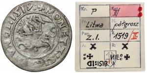 Zygmunt I Stary, Półgrosz Wilno 1519 - odwrócone D - ex. Kałkowski