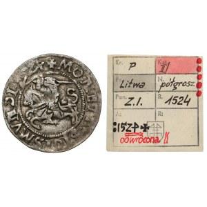 Zygmunt I Stary, Półgrosz Wilno 1524 - odwrócona 4 - ex. Kałkowski