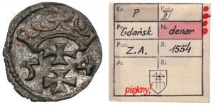 Zygmunt II August, Denar Gdańsk 1554 - rzadki - ex. Kałkowski