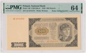 500 złotych 1948 - AC - numer radarowy
