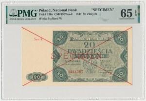 20 złotych 1947 - SPECIMEN - Ser.A 1234567
