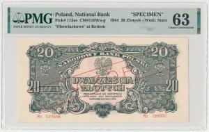 20 złotych 1944 ...owe - WZÓR - Rz - seria zastępcza