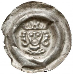 Czechy, Wacław II (1278-1305) Brakteat - Głowa króla w koronie z dużymi lokami