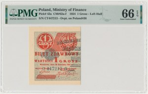 1 grosz 1924 - CT❉ - lewa połowa