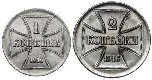 Ober-Ost. 1 i 2 kopiejki 1916 - zestaw (2szt)