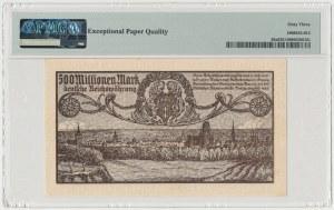 Gdańsk, 500 mln marek 1923 - druk szrofioletowy
