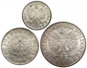 2, 5 i 10 złotych 1932-1935 Głowa i Piłsudski (3szt)