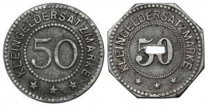 Hindenburg S.O. (Zabrze) i Ziegenhals Stadt (Głuchołazy), 50 fenigów 1918 - zestaw (2szt)