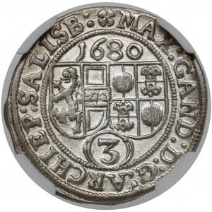 Austria, Max Gandolf von Kuenburg, 3 krajcary 1680, Salzburg