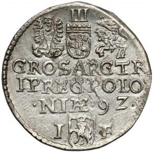 Zygmunt III Waza, Trojak Olkusz 1592 - mała głowa - rzadki