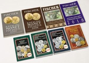 Katalogi monet i banknotów polskich, Fischer i Parchimowicz (8szt)
