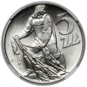 Rybak 5 złotych 1974 - skrętka - PIĘKNY